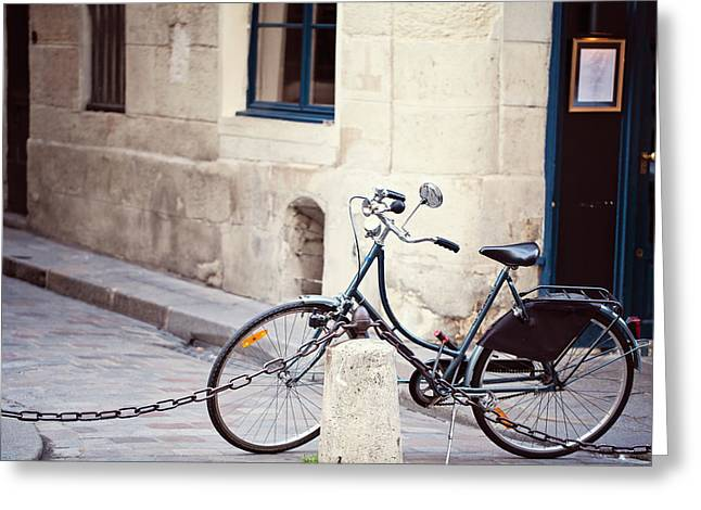 Parked In Paris - Bicycle Photography Greeting Card