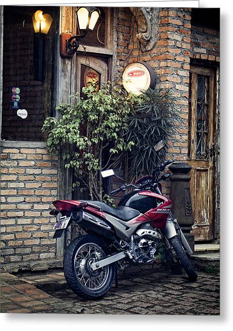 Greeting Card featuring the photograph Parked Motorcycle by Kim Wilson