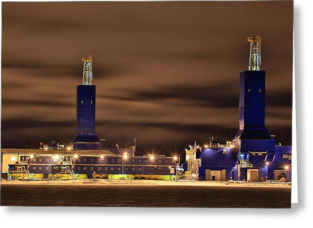 Parker Drilling Rigs In Prudhoe Bay Alaska Greeting Card by Sam Amato