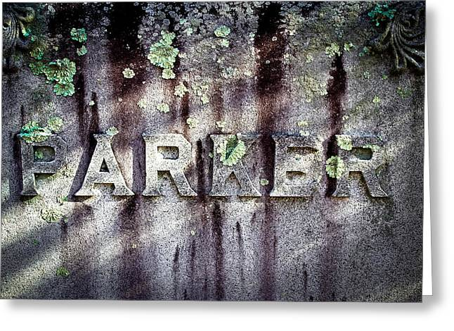 Parker Tombstone - Sleepy Hollow Cemetery Greeting Card by Colleen Kammerer