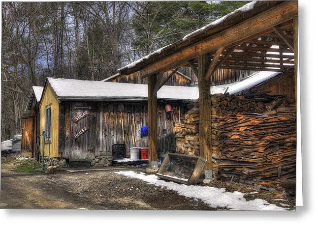 Parker's Maple Barn And Sugar House Greeting Card by Joann Vitali