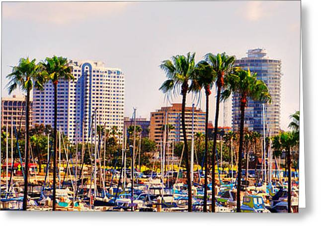 Parking And Palms In Long Beach Greeting Card by Bob Winberry