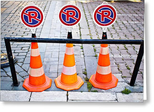 Parking Cones Greeting Card by Tom Gowanlock