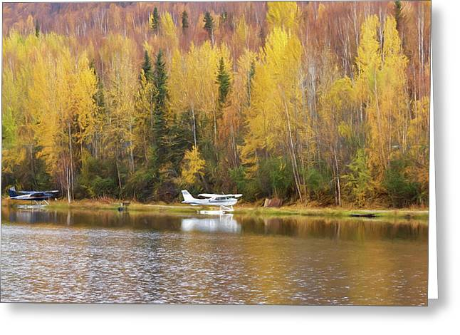 Parking On An Alaskan Lake Greeting Card by Wes and Dotty Weber
