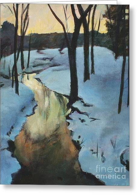 Award Greeting Cards - Parlee Farm Sunset Creek Greeting Card by Claire Gagnon