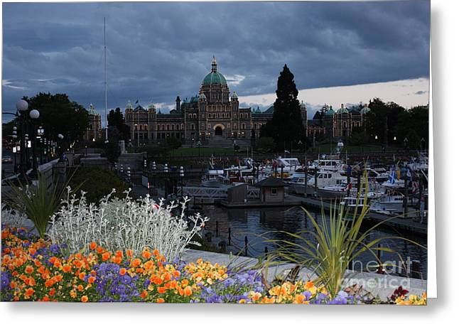 Parliament Building In Victoria At Dusk Greeting Card by Carol Groenen