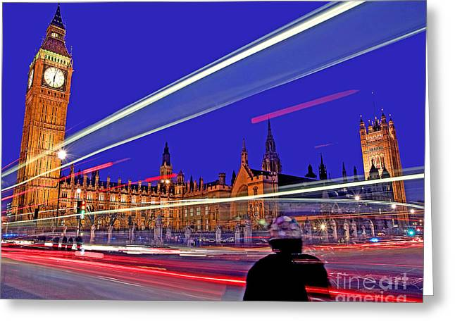 Parliament Square With Silhouette Greeting Card by Chris Smith