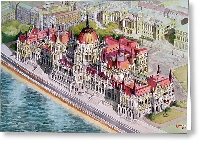 Parliment Of Hungary Greeting Card by Charles Hetenyi