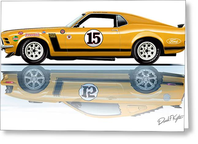 Parnelli Jones Trans Am Mustang Greeting Card by David Kyte