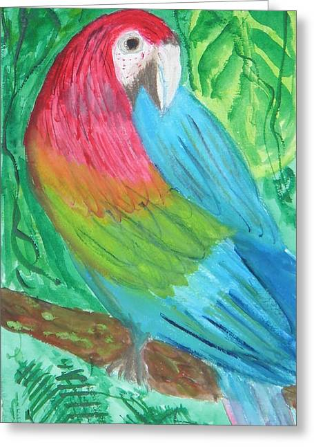 Greeting Card featuring the painting Parrot At Sundy House by Donna Walsh