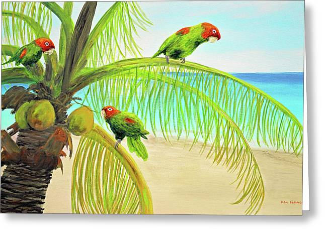 Parrot Beach Greeting Card