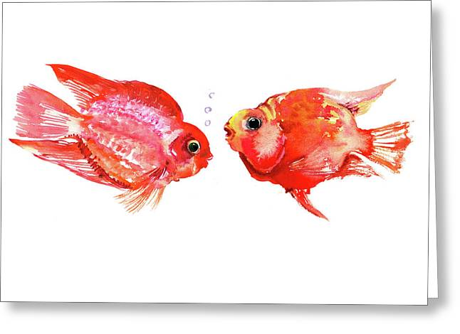 Parrot Cichlids Greeting Card by Suren Nersisyan