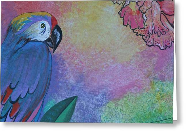 Parrot In Paradise Greeting Card