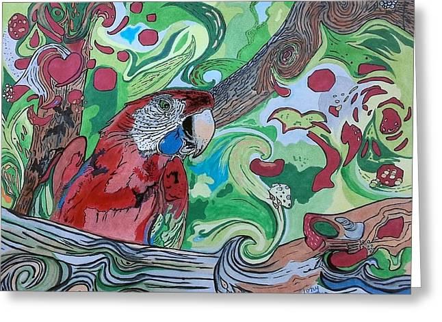 Parrot Kaleidoscope  Greeting Card