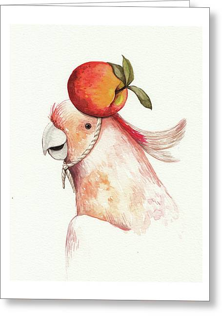 Parrot With Apricot  Greeting Card by Anastasia Stepanova