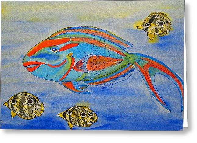 Parrotfish And Butterflies Greeting Card