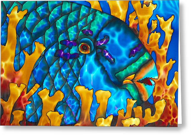 Parrotfish And Fire Coral Greeting Card