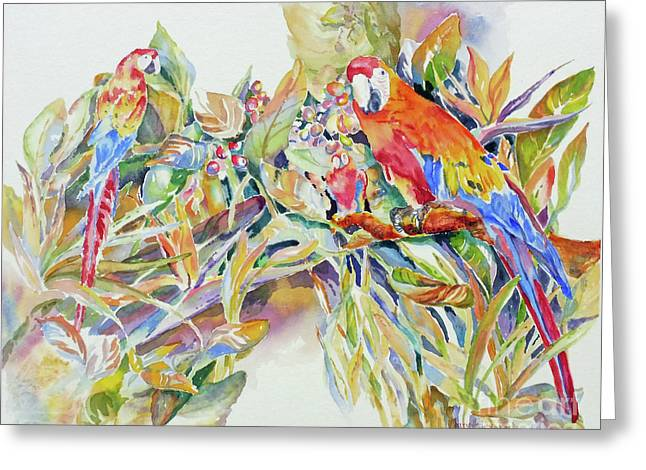 Greeting Card featuring the painting Parrots In Paradise by Mary Haley-Rocks