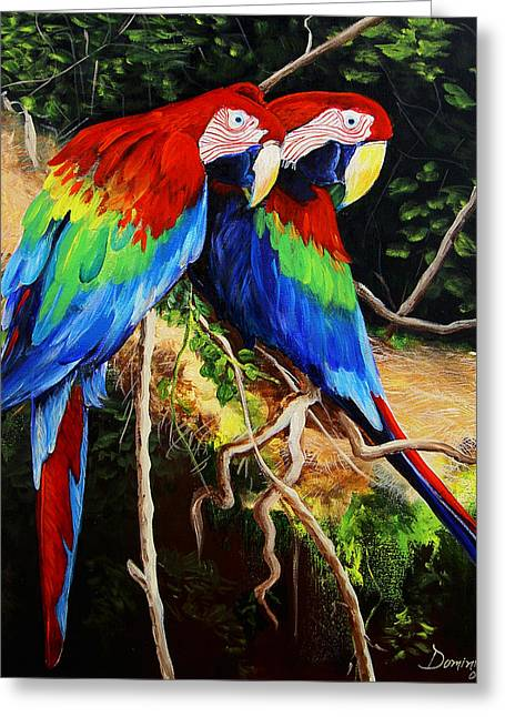 Dominica Alcantara Greeting Cards - Parrots in the Jungle Greeting Card by Dominica Alcantara