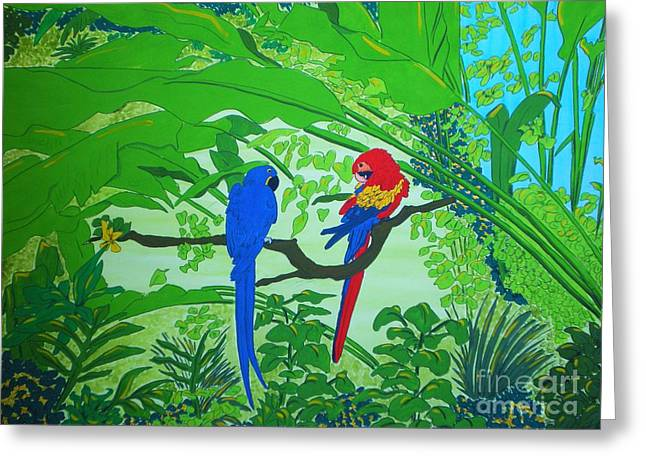Parrots Greeting Card by Michaela Bautz