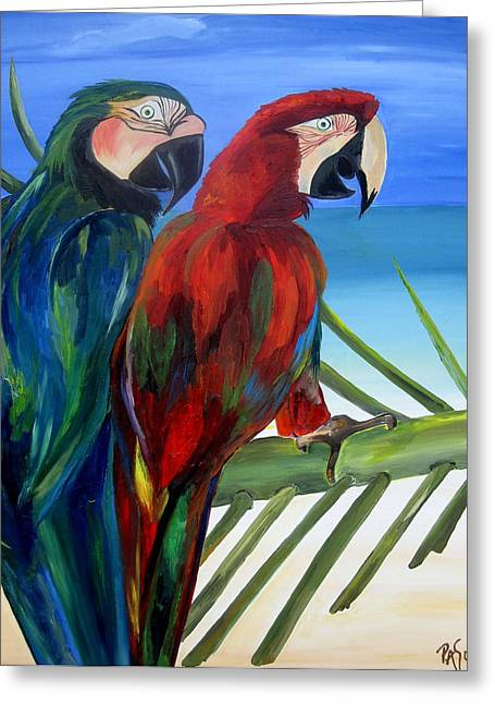 Blue Macaws Greeting Cards - Parrots on the Beach Greeting Card by Patti Schermerhorn