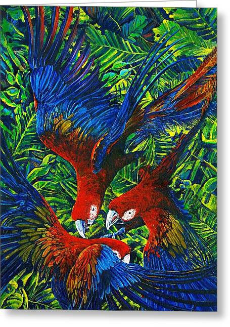 Parrots With Newborn Greeting Card