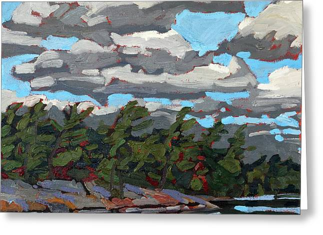Parry Sound Flagged Pines Greeting Card by Phil Chadwick
