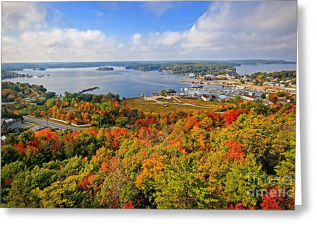 Parry Sound Harbour In Autumn Greeting Card by Charline Xia