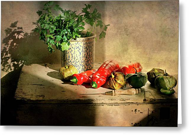 Greeting Card featuring the photograph Parsley And Peppers by Diana Angstadt