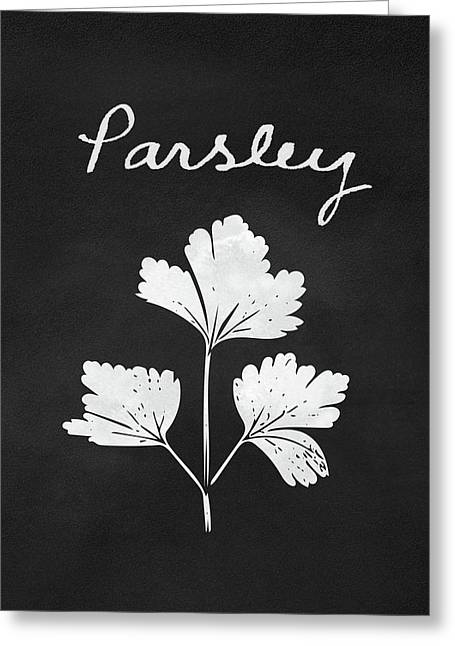 Parsley Black And White- Art By Linda Woods Greeting Card