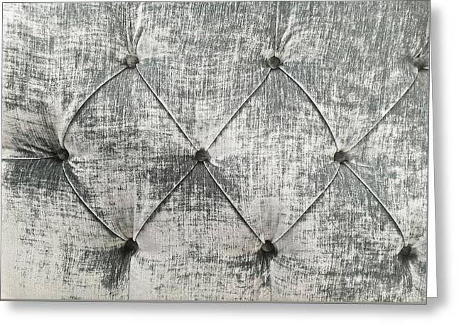 Part Of A Grey Upholstered Seat As A Background  Greeting Card by Tom Gowanlock