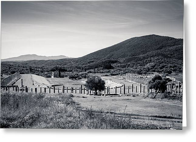 Part Of Ancient Messenei. The Stadium / Greece Greeting Card by Stavros Argyropoulos