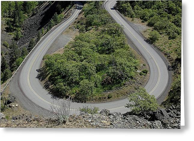 part of Rowena Loops on US Rt-30 in Oregon USA Greeting Card
