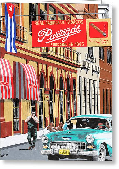 Buildings Greeting Cards - Partagas Cigar Factory Havana Cuba Greeting Card by Miguel G