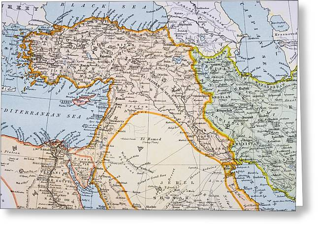Partial Map Of Middle East In 1890s Greeting Card by Vintage Design Pics