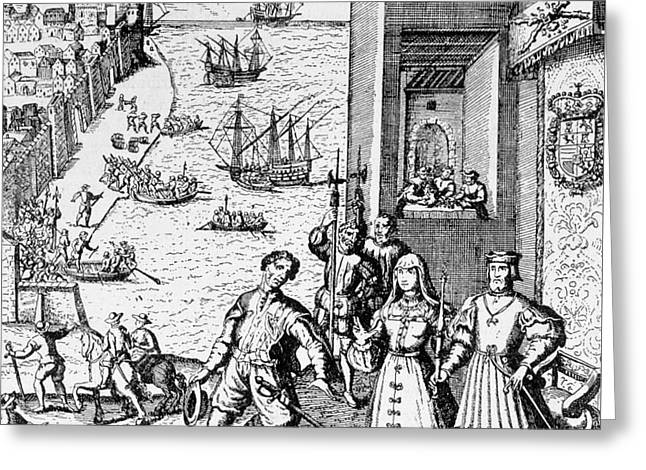 Parting Of Columbus With Ferdinand And Isabella Greeting Card