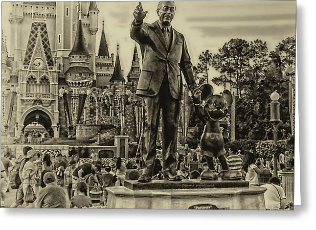 Partners Statue Walt Disney And Mickey In Black And White Greeting Card by Thomas Woolworth