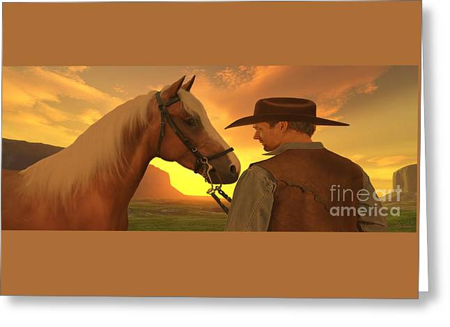 Partners With Sunset Greeting Card by Corey Ford