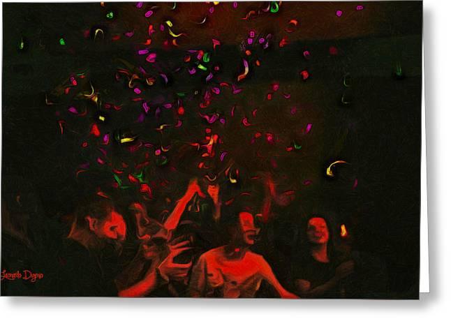 Party And Confetti - Da Greeting Card by Leonardo Digenio