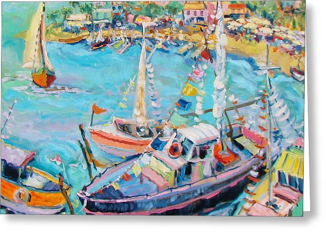 Party Boats Greeting Card by Sharon Furner
