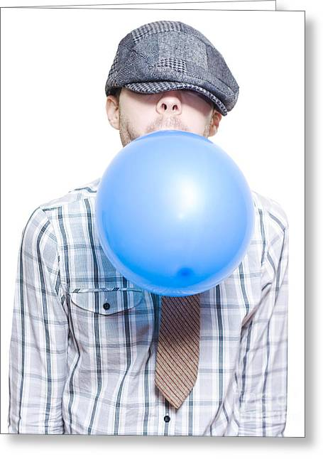 Party Boy Blowing Up New Years Eve Balloon Greeting Card by Jorgo Photography - Wall Art Gallery