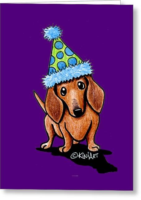 Party Dachshund Greeting Card by Kim Niles