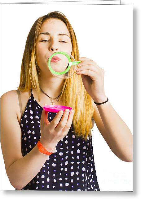 Party Guest Blowing Bubbles Of Congratulations Greeting Card by Jorgo Photography - Wall Art Gallery