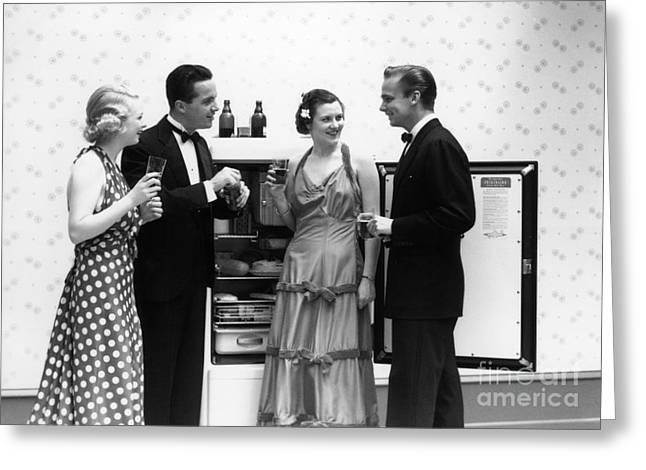 Party Guests At Refrigerator, C.1930-40s Greeting Card