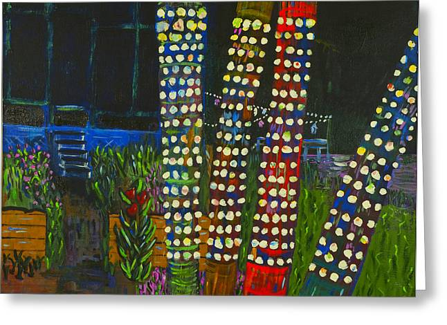Greeting Card featuring the painting Party Lights I by Angela Annas