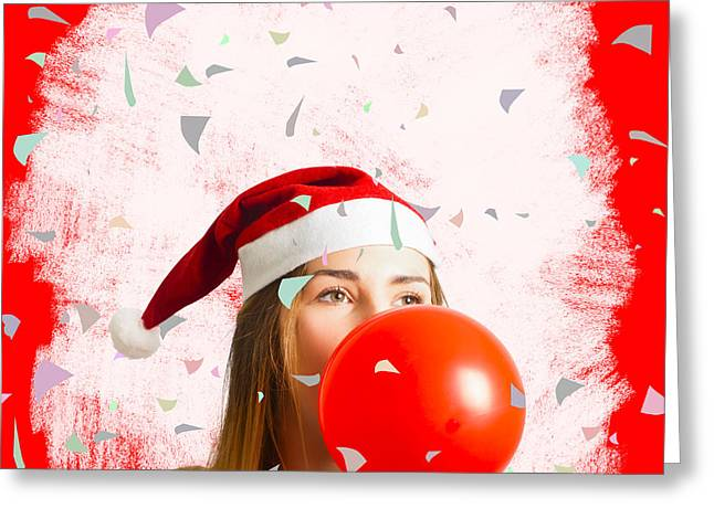 Party Planning Santa Girl At Christmas Event Greeting Card by Jorgo Photography - Wall Art Gallery