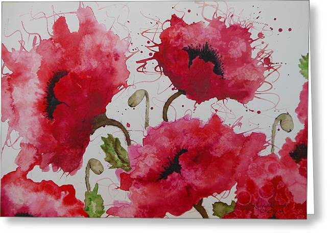 Chatham Paintings Greeting Cards - Party Poppies Greeting Card by Karen Kennedy Chatham