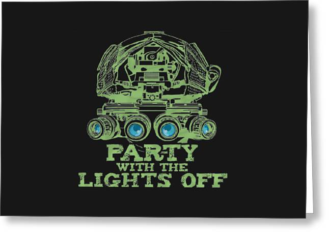 Greeting Card featuring the mixed media Party With The Lights Off by TortureLord Art