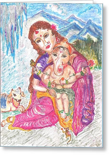 Parvathi And Baby Ganesh Greeting Card by Chitra Pandalai