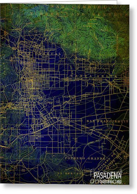 Pasadena Blue And Green Map Year 1896 Greeting Card